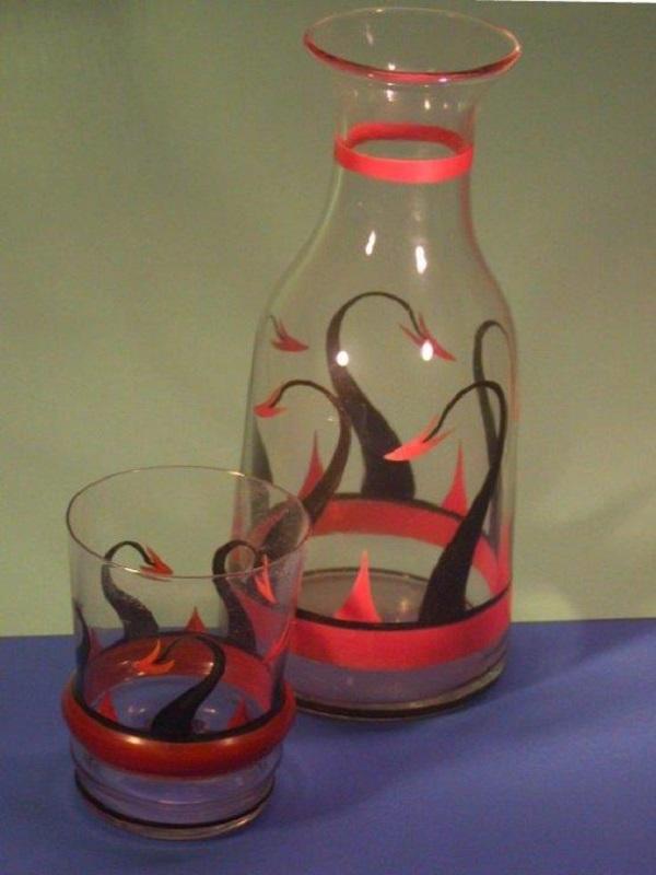 Waterkan en glas A. J. van Kooten, Leerdam
